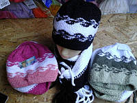 Шапка с шарфиком букле