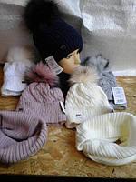 Шапочка для девочки с шарфиком баф на флисе, фото 1