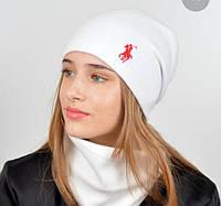 Шапочка для девочки на флисе и шарфиком хомут, фото 1