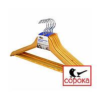 Вешалка деревянная с перекладиной (вешалка дерево, вешалки, плечики деревянные, тремпель, тремпеля), фото 3
