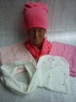 Шапочка трикотажная с шарфиком хомут, фото 1