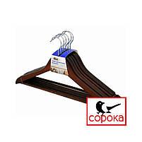 Вешалка деревянная коричневая с перекладиной (вешалка дерево, вешалки, плечики деревянные, тремпель, тремпеля), фото 3