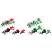 Трактор D850-4 (90шт) сельхозтехника, 22см, 2вида по 2цвета, в слюде, 27,5-11-8см