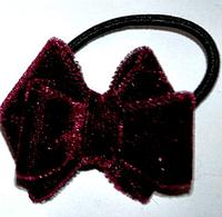 Бархатные резинки для волос - бордо
