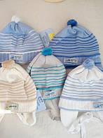 Весенняя  шапка для мальчика грудничковая