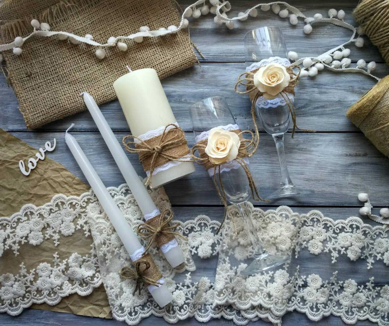 Свадебный набор аксессуаров бокалы и свечи