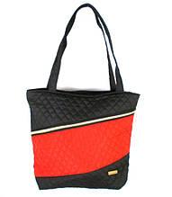 Сумка стеганая с карманом на молнии впереди черная с красным