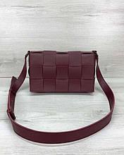 Женская сумка Bottega плетеная бордовая Welassie