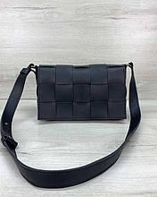 Женская сумка Bottega плетеная черная Welassie