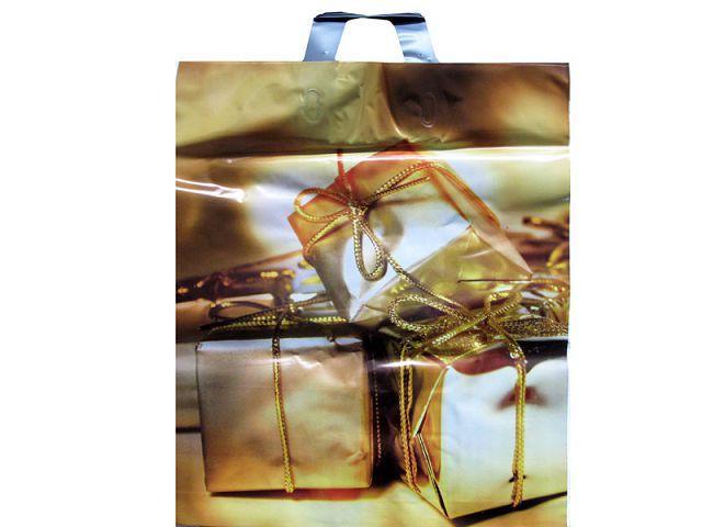 """Пакет полиэтиленовый цветной с петлевой ручкой (40*45) """"Подарок золото""""  (25 шт)"""