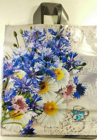 """Пакет полиэтиленовый цветной с петлевой ручкой  (38*44) """"Полевые цветы""""  (25 шт)"""