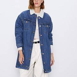 Пальто женское утепленное из денима Blue Berni Fashion (S)