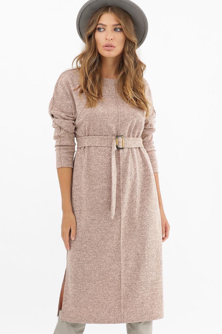 Теплое длинное платье с поясом