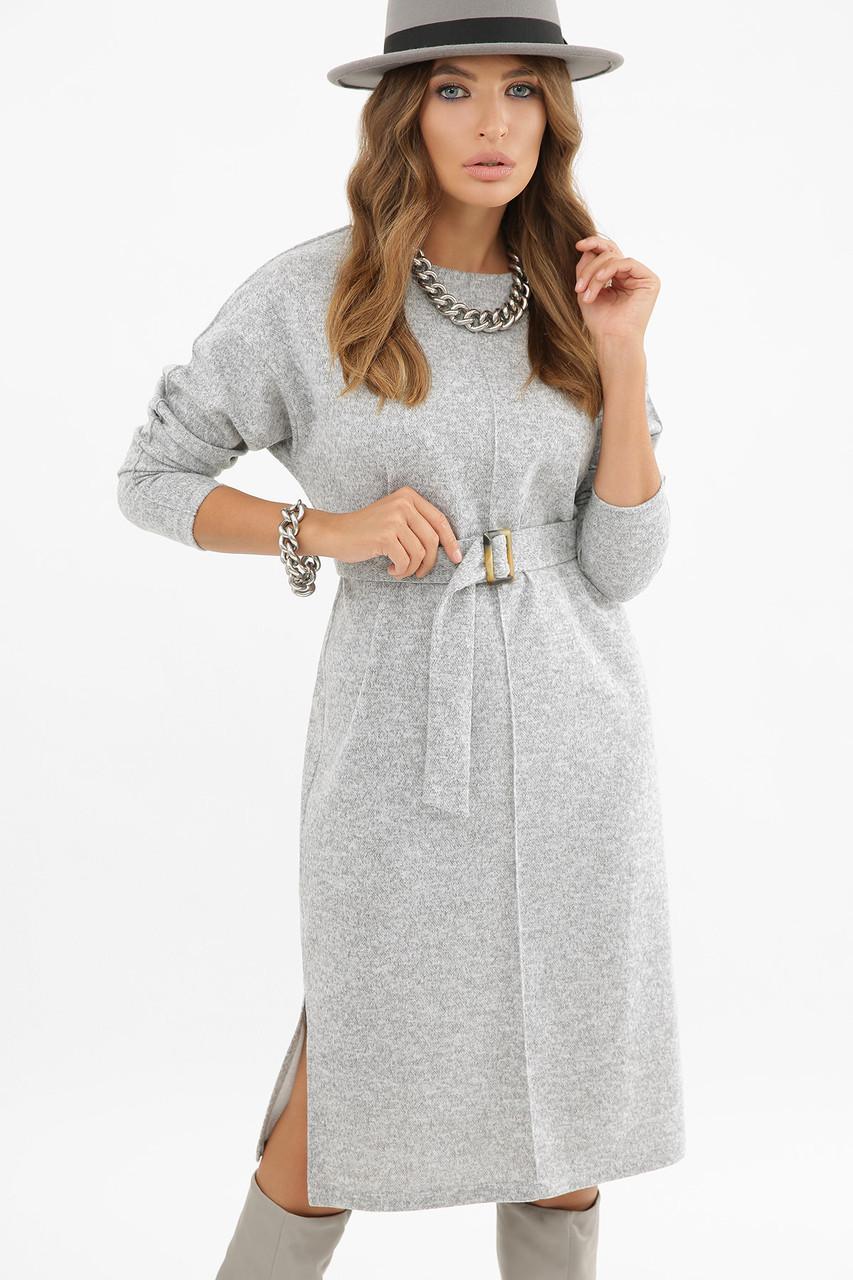 Светло-серое теплое платье