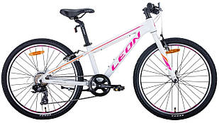 """Велосипед уцінений 24"""" Leon JUNIOR 2020 (біло-малиновий з помаранчевим)"""