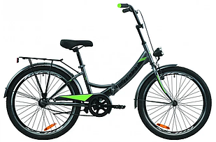 """Велосипед уцінений 24"""" Formula SMART 7 з багажником зад St, з крилом St, з ліхтарем 2020 (сіро-зелений з чорним (м))"""