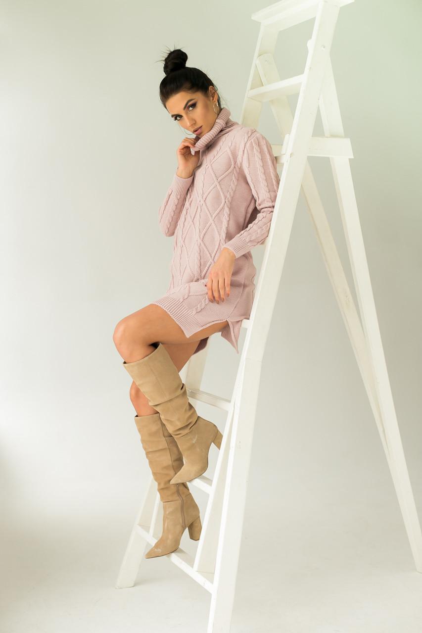 Платье-туника с узором косичек и ромбов LUREX - пудра цвет, L (есть размеры)