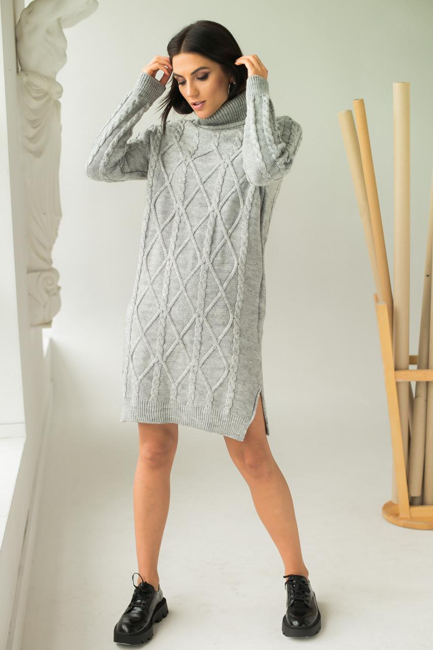 Платье-туника с узором косичек и ромбов LUREX - серый цвет, L (есть размеры)