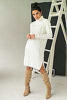 Платье-туника с узором косичек и ромбов LUREX - молочный цвет, S (есть размеры), фото 1