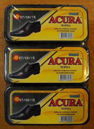 Губка-блеск для обуви Acura черная макси 6шт/уп