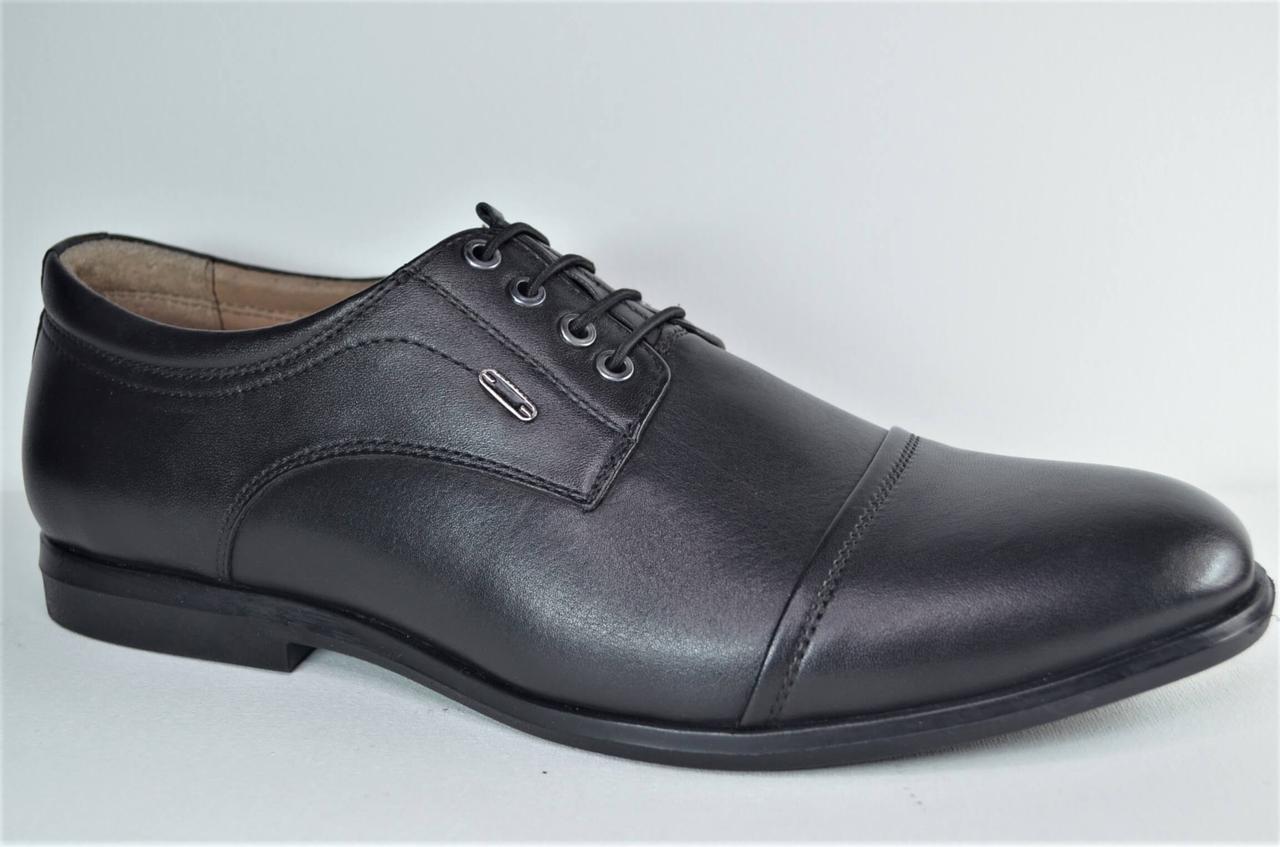 Чоловічі шкіряні туфлі чорні Cevivo 4715