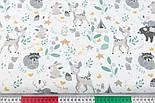 """Тканина бязь """"Сірі звірі та зелені гілочки"""" на білому тлі №3027а, фото 2"""