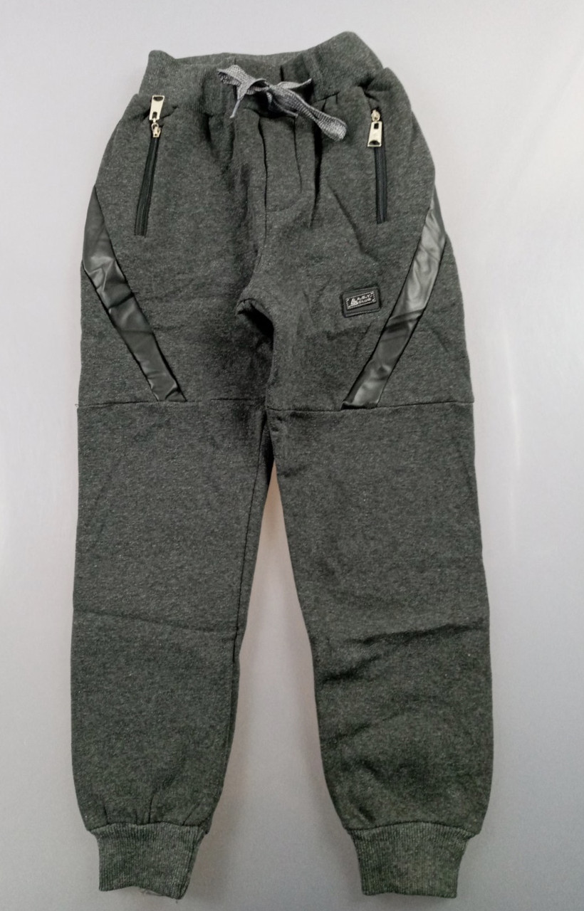 {есть:10 лет,11 лет,12 лет,9 лет} Спортивные брюки с начесом для мальчиков,  Артикул: T2566-т.серый [10 лет]