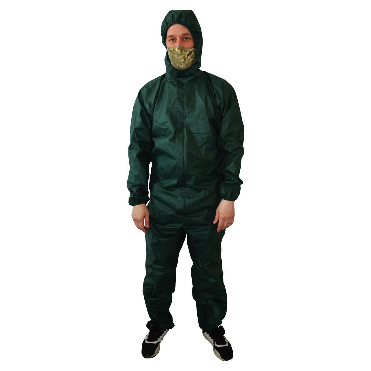 Комбинезон защитный зеленый, спанбонд 60г/м2, с капюшоном, на молнии