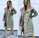 Женская зимняя двухсторонняя куртка удлиненная фото реал много цветов, фото 3