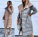 Женская зимняя двухсторонняя куртка удлиненная фото реал много цветов, фото 5