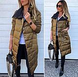 Женская зимняя двухсторонняя куртка удлиненная фото реал много цветов, фото 7