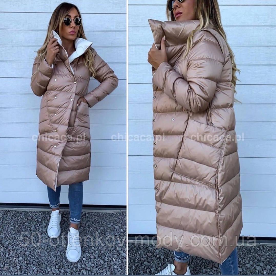 Женская зимняя двухсторонняя куртка удлиненная фото реал много цветов
