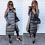 Женская зимняя двухсторонняя куртка удлиненная фото реал много цветов, фото 10