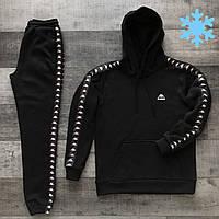 Спортивный костюм мужской ЗИМНИЙ Kappa lampas теплый до -25*С черный | Толстовка + Штаны на флисе
