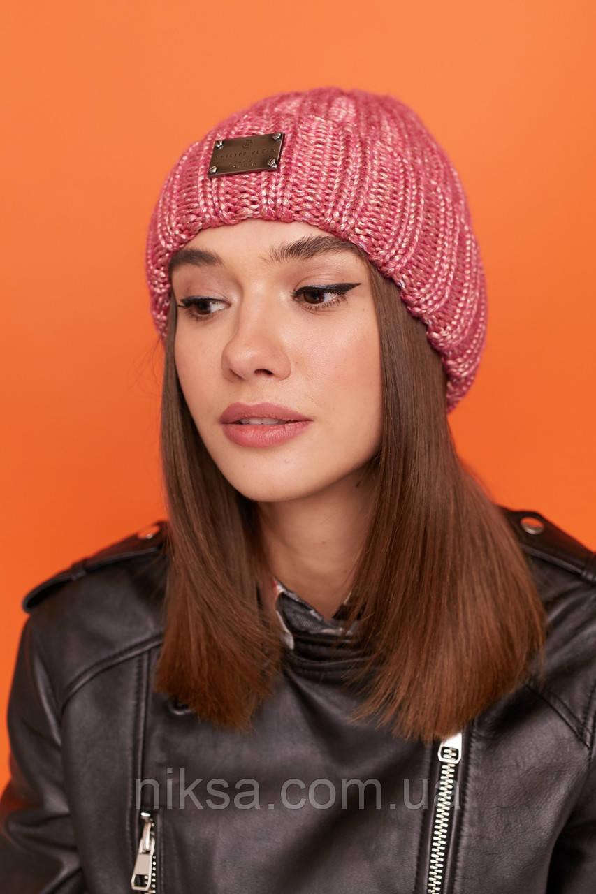 Шапка женская вязанная молодежная с подворотом утепленная цвет Розовый