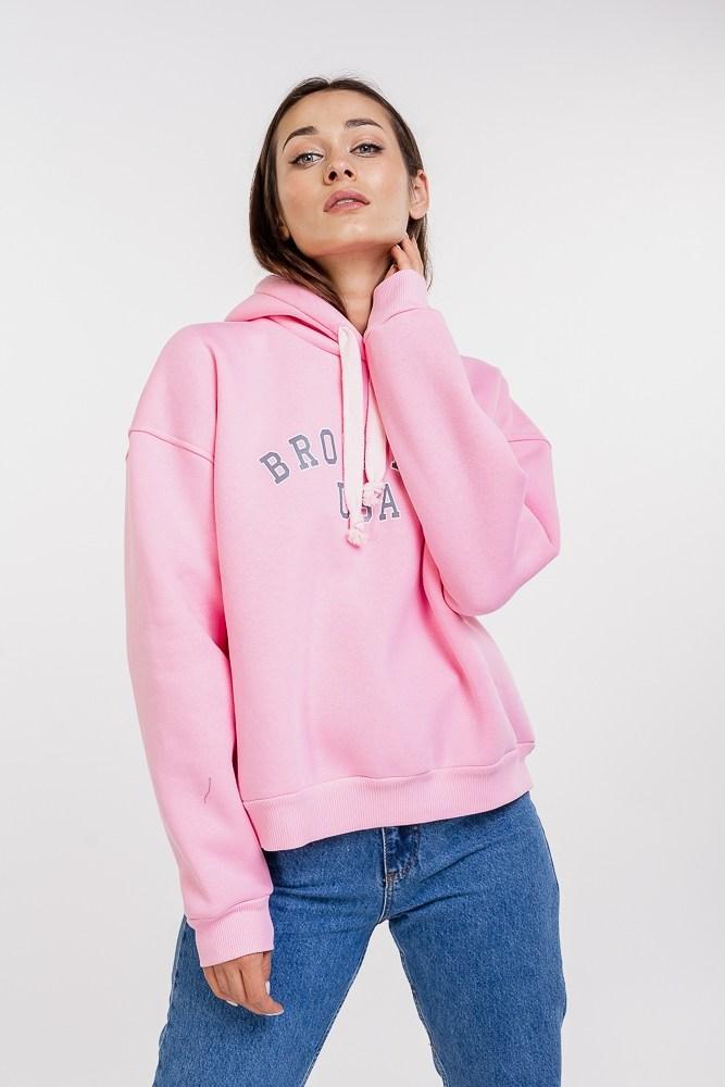 Женское утепленное худи SIZE ONE с надписью BROOKLYN USA (Розовый)
