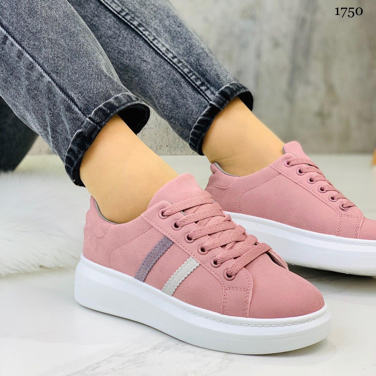 Женские стильные кроссовки розовые / пудра эко -замш