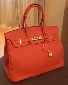 Женская сумка Хермес Биркин Оранжевая с замком  AAA Copy