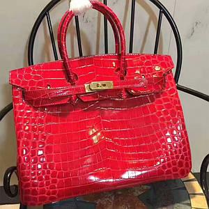Женская сумка Хермес Биркин Красная на замке AAA Copy