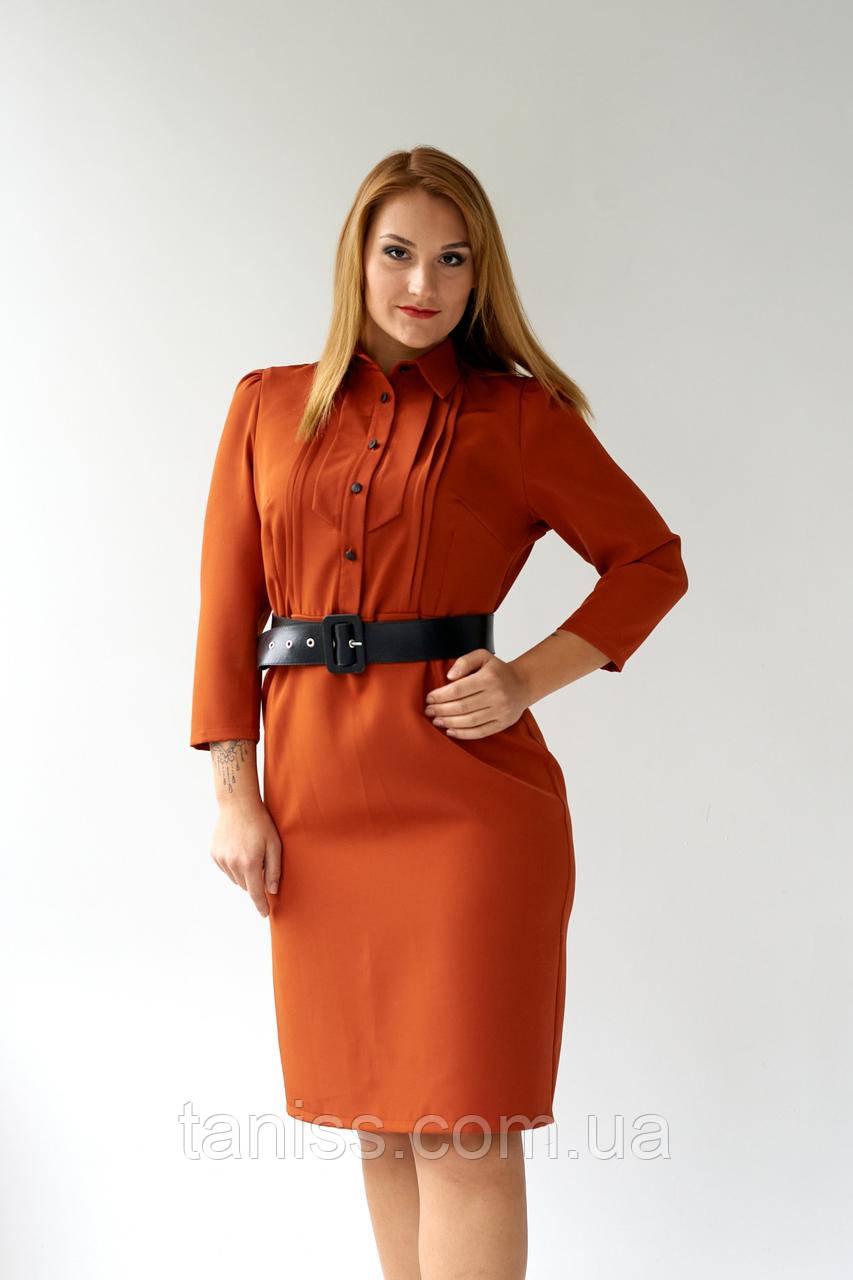 """Женское платье  """"Вевея"""", ткань костюмка  , размеры 48,50,52,54, рыжий, сукня"""