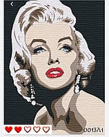 Картина по номерам Мерилин Монро (цветной холст) 40*50см Барви Розпис по номерах
