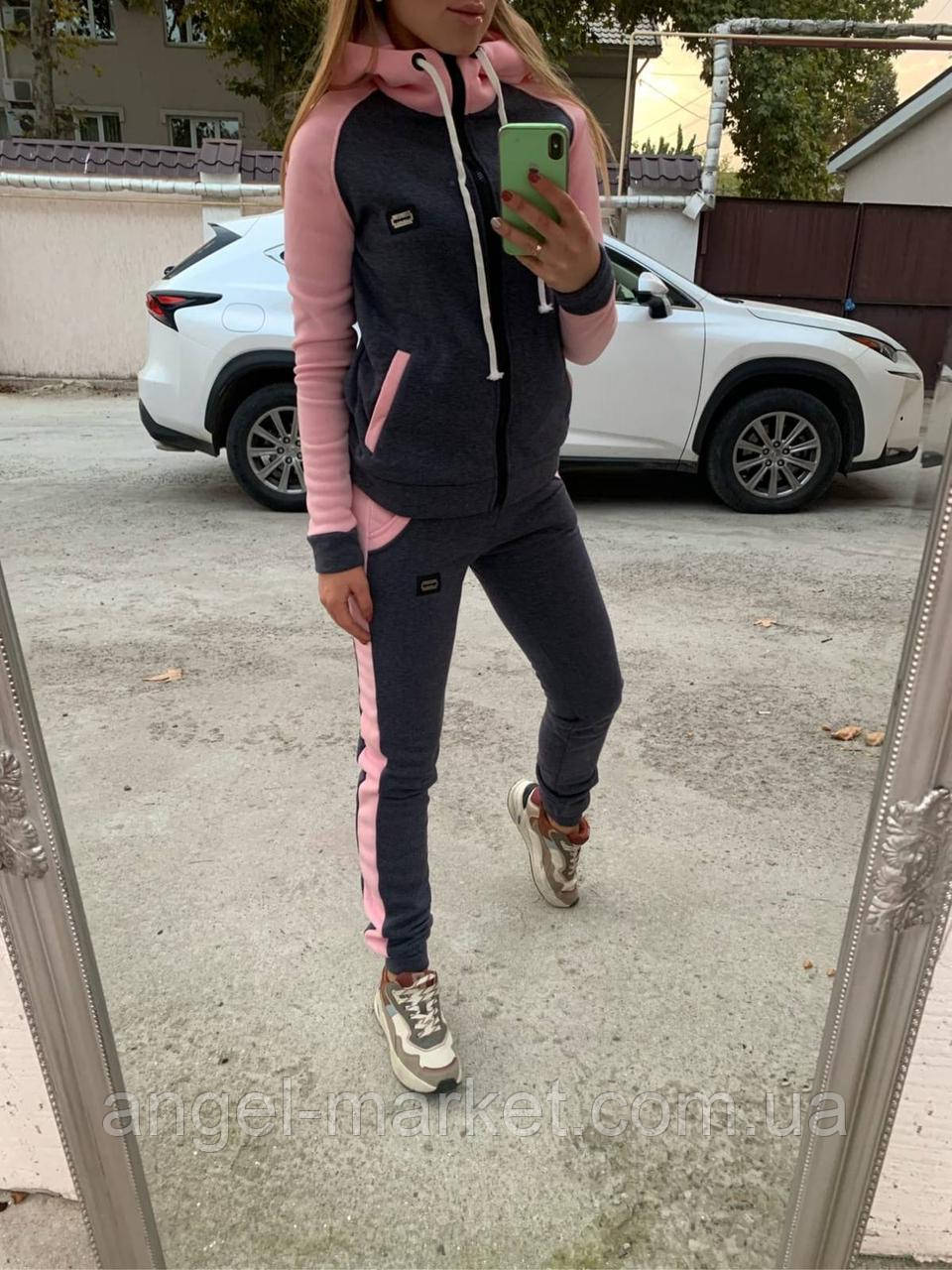 Женский теплый спортивный костюм на флисе норма и батал  новинка 2020