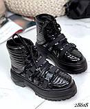 Женские демисезонные спортивные ботинки на застежках серебристые черные, фото 2