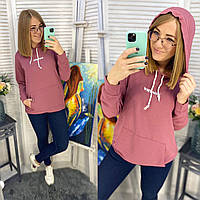 Женский  теплый худи с капюшоном норма и батал  новинка 2020, фото 1