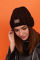 Шапка женская вязанная молодежная с подворотом утепленная цвет Коричневый, фото 1