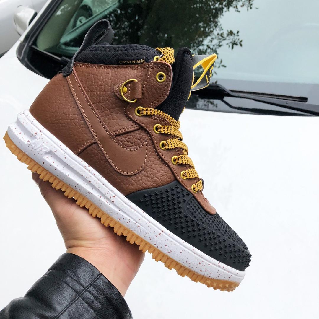 Чоловічі кросівки Nike Lunar Force 1 Duckboot (коричнево-чорні) 9918