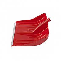 Лопата снігова червона пластмасова 400 х 420 мм, без держака, алюмінієва окантовка, СИБРТЕХ