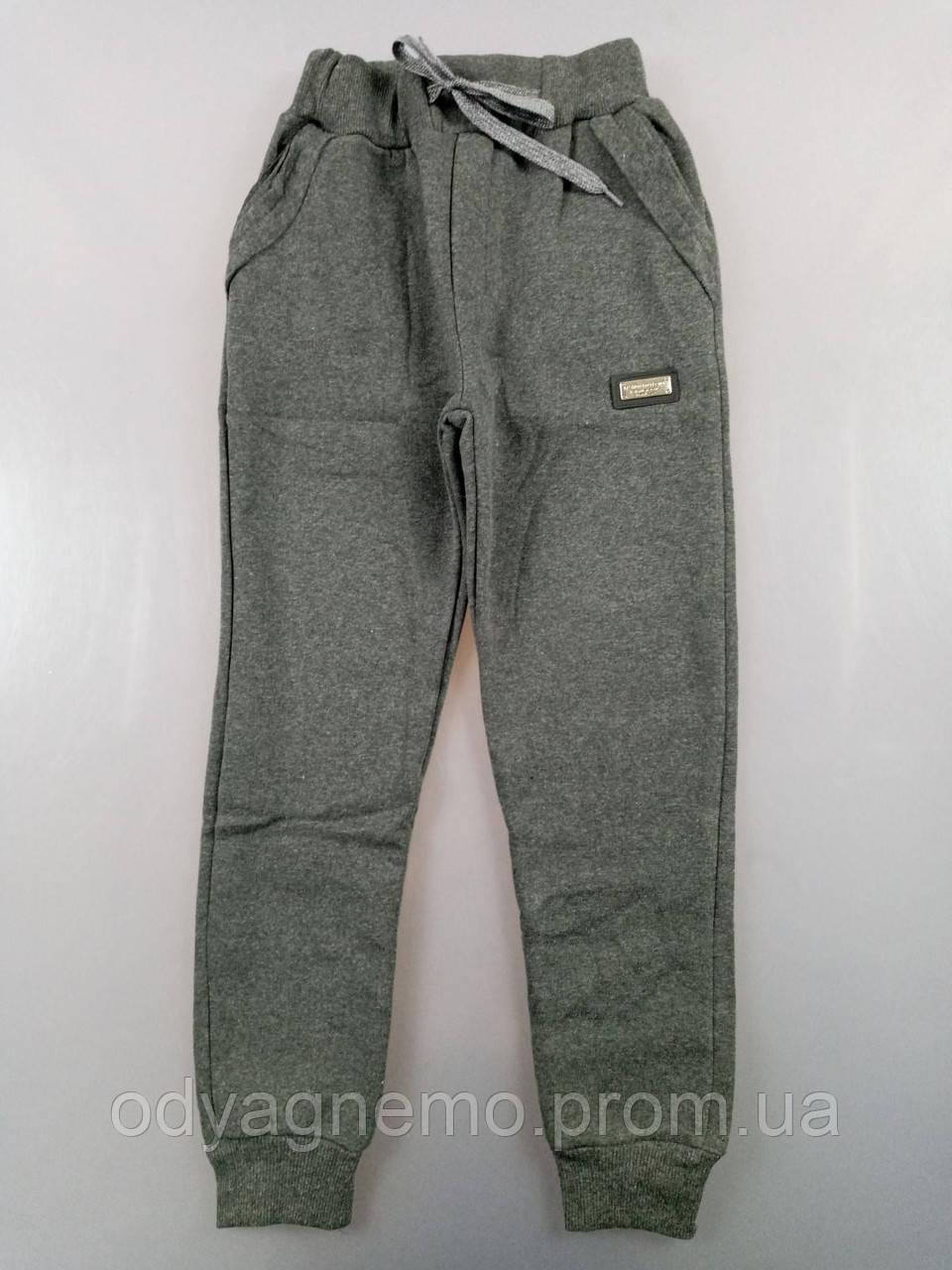 Спортивные брюки с начесом для мальчиков, 13-16 лет. Артикул: T2578-т.серый