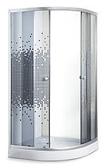 Душевая кабина 90*90*194 мелкий поддон 15/5 см, стекло серое мозайка профиль
