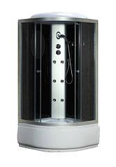 Гидробокс 100*100*215 Fabio глубокий поддон (40см) без электроники, стекло черное, двери Grey